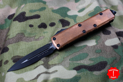 Microtech UTX-85 COPPER TOP Black Double Edge OTF Knife Black Blade 232-1 CP