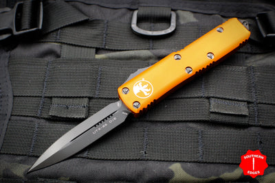 Microtech UTX-85 Orange Double Edge OTF Knife Black FULL DLC Blade 232-1 DLCTOR
