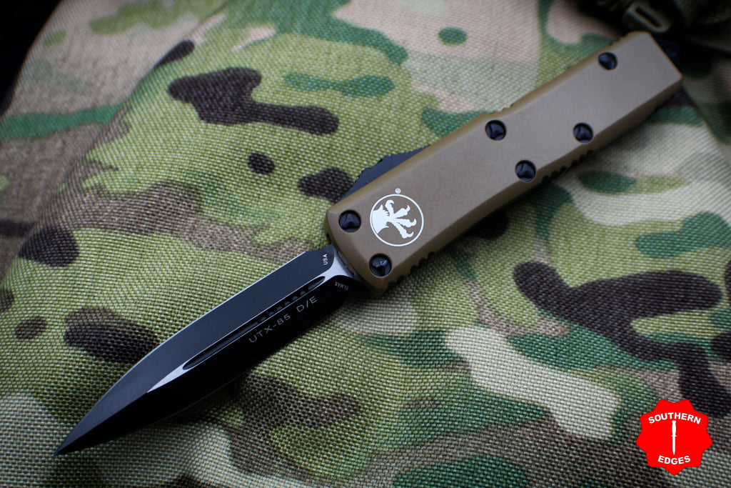 Microtech UTX-85 Tan Double Edge Knife Black Blade 232-1 TA