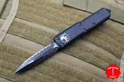 Microtech UTX-85 Black Tactical Double Edge OTF Knife Black Full Serrated Blade 232-3 T