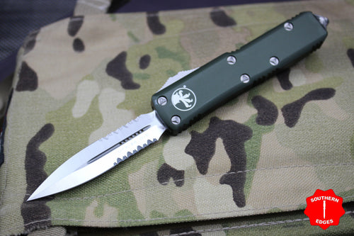 Microtech UTX-85 OD Green D/E Knife Satin Part Serrated Blade 232-5OD