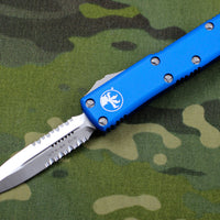 Microtech UTX-85 Blue Double Edge DE Knife Satin Part Serrated Blade 232-5 BL