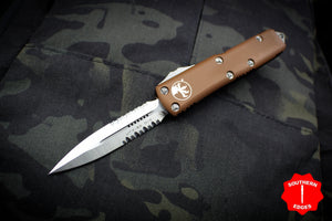 Microtech UTX-85 Tan Double Edge Knife Satin Part Serrated Blade 232-5 TA