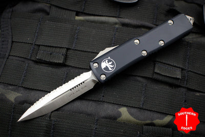 Microtech UTX-85 Black Double Edge OTF Knife Satin Full Serrated Blade 232-6