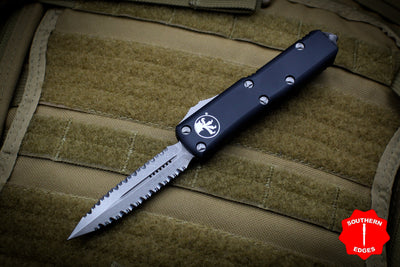 Microtech UTX-85 Black Double Edge OTF Knife Apocalyptic Double Full Serrated Blade 232-D12 AP