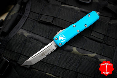 Microtech UTX-85 Turquoise Tanto Edge OTF Knife Stonewash part serrated blade 233-11 TQ