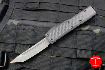 Microtech UTX-85 Carbon Fiber Tanto T/E Knife Damascus Blade Blue Hardware 233-16 CFTI