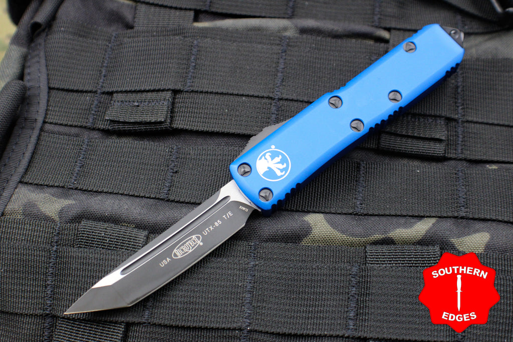 Microtech Blue UTX-85 Tanto Edge OTF Knife Black Blade 233-1 BL