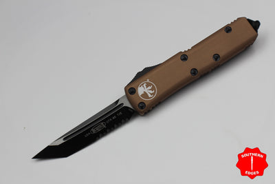 Microtech Tan UTX-85 Tanto T/E Knife Black Part Serrated Blade 233-2TA