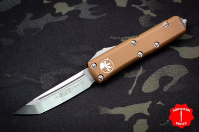 Microtech Tan UTX-85 Tanto Edge OTF Knife Satin Blade 233-4 TA