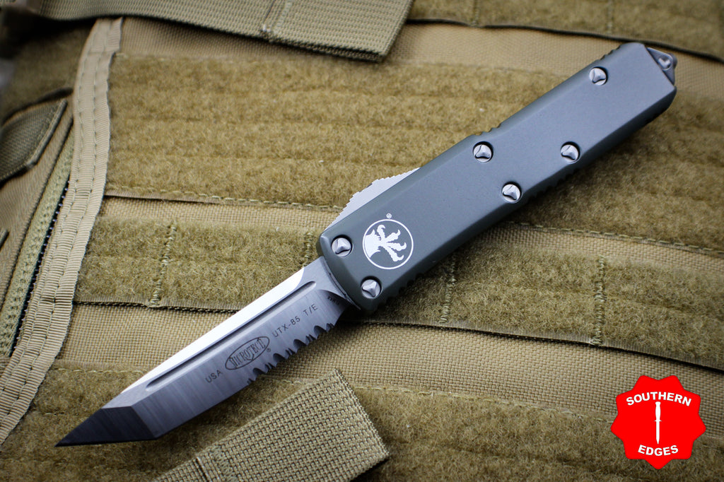 Microtech UTX-85 OD Green Tanto Edge OTF Knife Part Serrated Satin Blade 233-5 OD