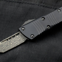 Microtech Mini Troodon Black Tanto Edge OTF Damascus Blade with Ringed HW 240-16 S SN011