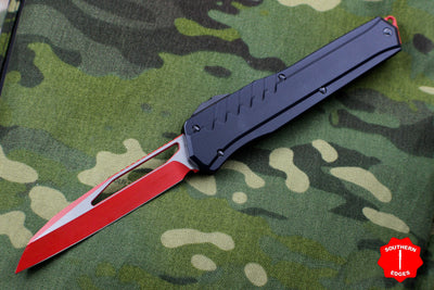Microtech Cypher MK7 Serial Number 4 Black Single Edge RED Blade with Black Hardware 241M-1 RDBK