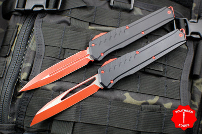 Microtech Cypher MK7 Serial Number 02 SET Black SE and DE Red Blade and Hardware 241M-1 RDB 242M-1 RDB