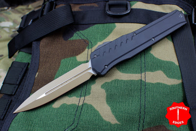 Microtech Cypher MK7 Black DE Tan Blade and Chip Black Hardware 242M-1 TNBK