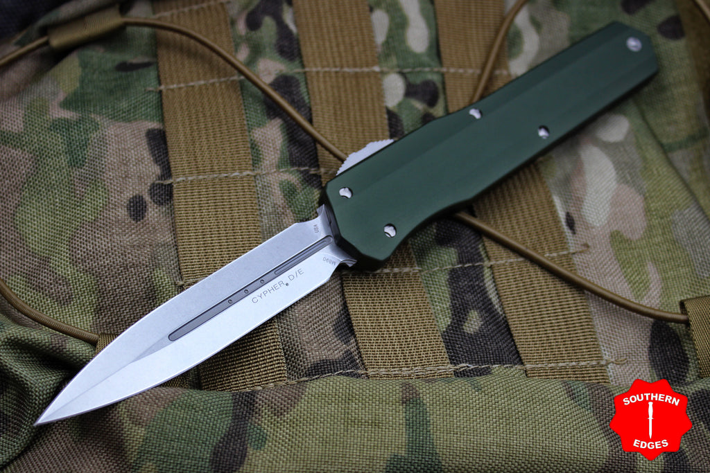 Microtech Cypher SMOOTH OD Green Body DE Stonewash Finish 242S-10OD