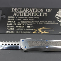 Troodon Hellhound Tanto Mirror Polish Stainless Steel W/ Carboquartz Inlay 338-MCK CARBO
