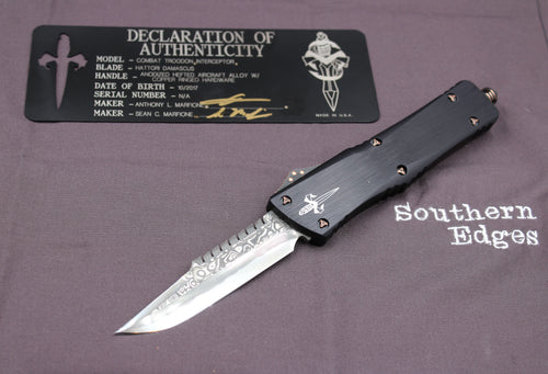 Marfione Custom Combat Troodon Interceptor Damascus Finish Copper-Ringed HW 339-MCK DACU