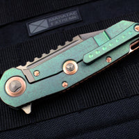 Marfione Custom Warhound Folder Antiqued Green Handle Eggshell Copper Hardware 391-MCK AGCU