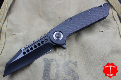 Marfione Custom Warhound Folder Apocalyptic DLC Carbon Fiber Flamed Titanium Hardware 391-MCK CFBL