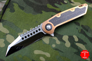 Marfione Custom Warhound Folder Copper Top Handle LSCF Inlay Mirror Blade Copper Hardware 391-MCK HP CULSCF