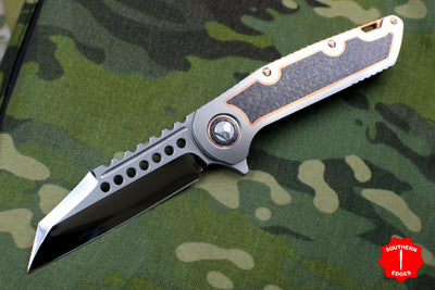 Marfione Custom Warhound Folder Satin Titanium Handles Copper trimmed Lightning Strike Carbon Fiber Inlay Cu Backspacer & Hardware 391-MCK HP LSCFCU