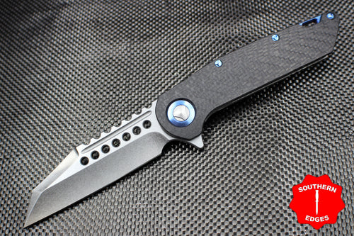 Marfione Custom Warhound Folder Carbon Fiber Blue Titanium Hardware 391-MCK CFBL
