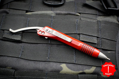 Microtech Red Siphon II Stainless Steel with Apocalyptic Hardware 401-SS-RDAP