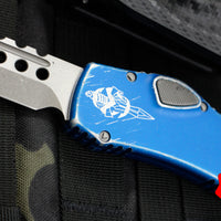 Microtech Halo VI Hellhound with Distressed Blue Handle Apocalyptic Stonewash Blade 519-10 DBL