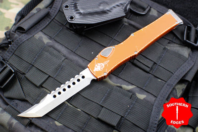 Microtech Halo VI Hellhound with Distressed Orange Handle Apocalyptic Stonewash Blade 519-10 DOR