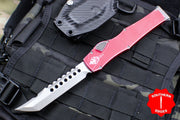 Microtech Halo VI Hellhound with Distressed Red Handle Stonewash Blade 519-10 DRD