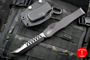 Microtech Halo VI Hellhound Black with Two-Tone DLC Blade and HW 519-1 DLCT