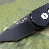 Protech Runt Black Body Black Tanto Edge Blade Out The Side (OTS) Auto Knife 5415