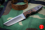 Attn2Detail Mercantile- Mini Drop Point Tanto Satin Hollow Grind Burlap Red Micarta Fixed Blade