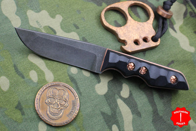 Attn2Detail Mercantile- Caveman Sculpted Black Micarta Mini Drop Point Tanto Copper Liner and HW Fixed Blade
