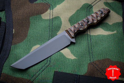 Attn2Detail Mercantile- Custom Mini Tanto Black Hollow Grind Fixed Blade Python Micarta Handle
