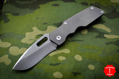 Attn2Detail Mercantile- Mark I Medium Custom Folder Stonewash Ti Handle Recurve Blade SN 05