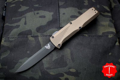 Benchmade Phaeton Single Edge OTF Auto FDE Handle With Black Plain Edge 4600DLC-1