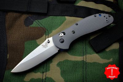 Benchmade Griptilian Satin Drop Point Blade With Gray and Blue Body 551-1