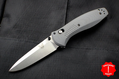 Benchmade Barrage Axis-assisted Single Edge Gray Handle Stonewash Plain Edge 580-2