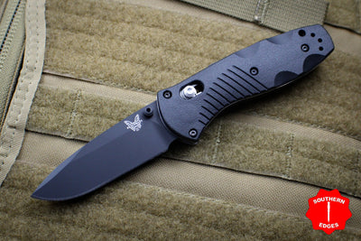 Benchmade Mini Barrage Axis-assisted Black Single Edge Black Body 585BK