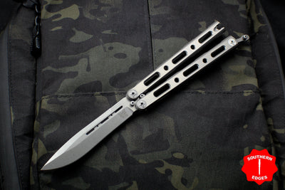 Benchmade 85 Butterfly Balisong Drop Point Stonewash Blade and Titanium Handles 85