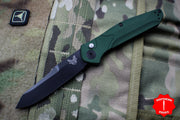 Benchmade Osbourne AUTO OTS Reverse Tanto Green w Purple Backspacer Black Blade Axis lock folder 9400BK