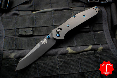 Benchmade Osbourne Reverse Tanto Special Release Black With Black DLC Blade Blue Sapphire HW Axis lock folder 940BK-2003