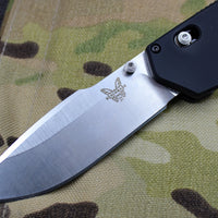 Benchmade Vallation Stonewash Drop Point Blade Black Body 407