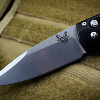 Benchmade Arcane Satin Drop Point Blade Black Body Axis Flipper 490