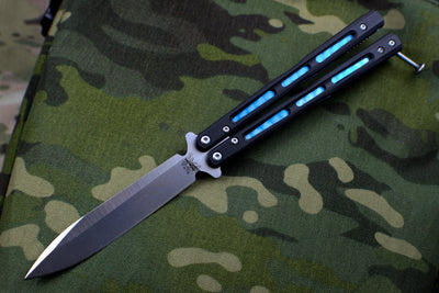 Benchmade Morpho Butterfly Balisong Satin Spear Point Blade and G-10 Body Blue Titanium 51
