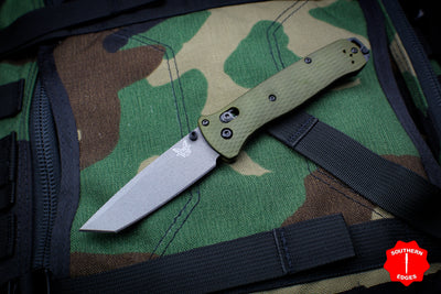 Benchmade Bailout Green Aluminum Body Gray Tanto Plain Edge 537GY-1