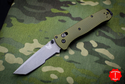 Benchmade Bailout Green Aluminum Body Gray Tanto Part Serrated Edge 537SGY-1