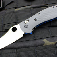 Benchmade Griptilian Satin Sheepsfoot Blade With Gray and Blue Body 550-1